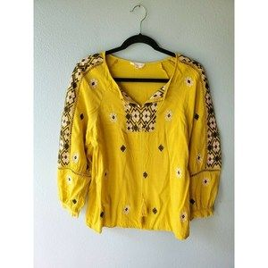 SOLITAIRE Size M Yellow Embroidered 3/4 Sleeves